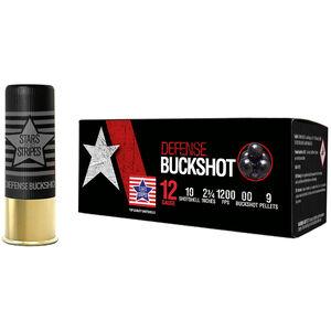 """Stars and Stripes 12 Gauge Defense Buckshot Ammunition 10 Rounds 2-3/4"""" 9 Pellet 00 Buckshot 1200fps"""