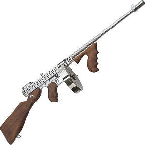 "Auto-Ordnance Thompson 1927A-1 Deluxe Semi Auto Carbine .45 ACP 16.5"" Finned Barrel 20/50 Rounds Walnut Furniture Chrome Plated Tiger Striped Finish"