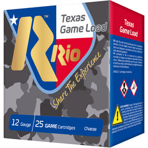 "RIO Ammunition Texas Game Load HV 12 Gauge Ammunition 2-3/4"" Shell #8 Lead Shot 1-1/4oz 1330fps"