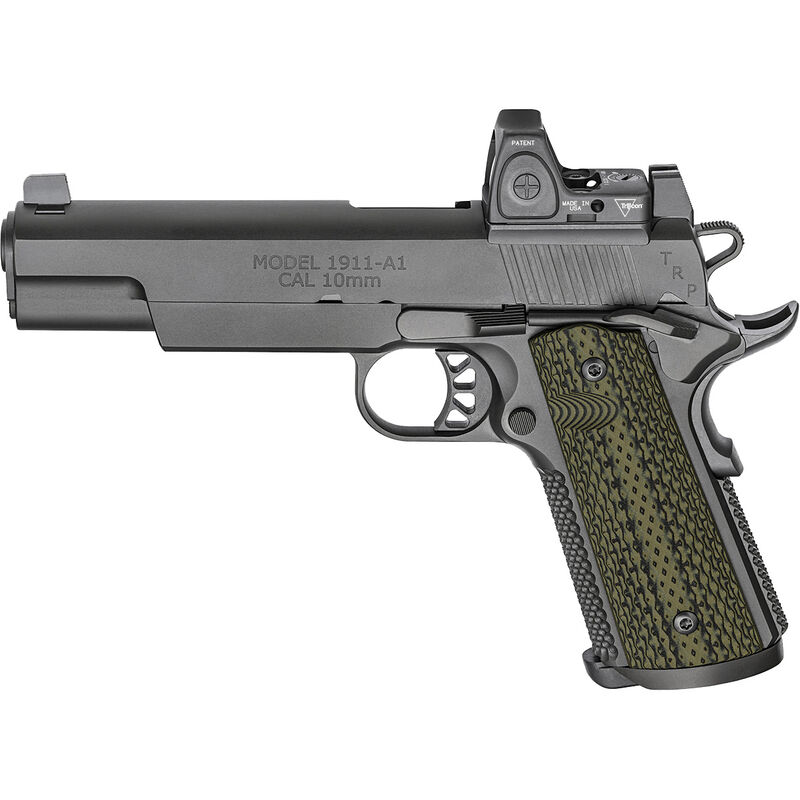 """Springfield Armory 1911 TRP with RMR 10mm Auto Semi Auto Pistol 5"""" Barrel 8 Rounds Night Sites with Trijicon RMR Steel Frame G10 Grips Black Finish"""
