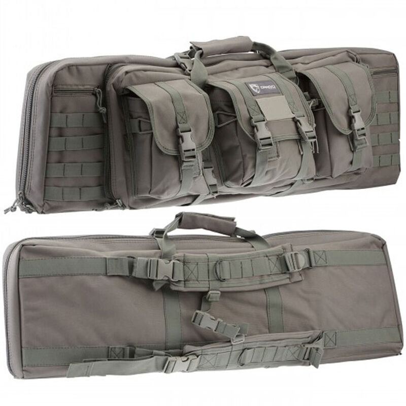 """Drago Gear 36"""" Single Gun Case Tactical Case 600 Denier Nylon MOLLE Panels Seal Gray"""