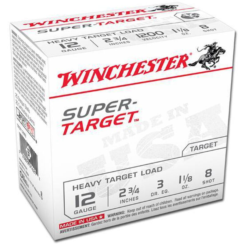 "Winchester Super-Target 12 Gauge Ammunition 25 Rounds 2 3/4"" #8 Lead 1 1/8 Ounce TRGT12M8"