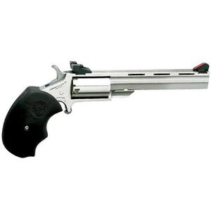 """NAA Mini Master Single Action Revolver .22 LR/.22 Mag 4"""" Stainless Barrel 5 Rounds Steel Stainless Frame Adjustable Sights Black Rubber Grips NAA-MMT-C"""