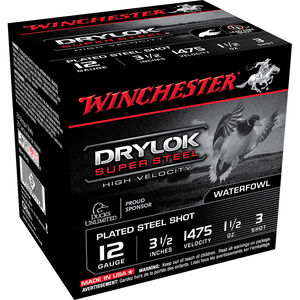 "Winchester DryLok Super Steel 12 Gauge Ammunition 25 Rounds 3-1/2"" Shotshell 1-1/2 Oz High Velocity Steel Shot #3 Shot Size 1475fps"