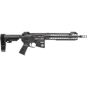 """Spikes Rare Breed Crusader 5.56 NATO AR-15 Semi Auto Pistol 11.5"""" Barrel Crusader Helmet Billet Lower 10"""" M-LOK Handguard SB3 Adjustable Pistol Brace Black Anodized Finish"""