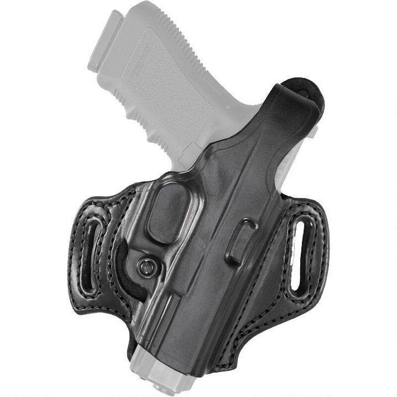 Aker Leather 168 FlatSider XR12 Belt Slide Holster S&W M&P Full Size 9mm/.40 Right Hand Leather Plain Black