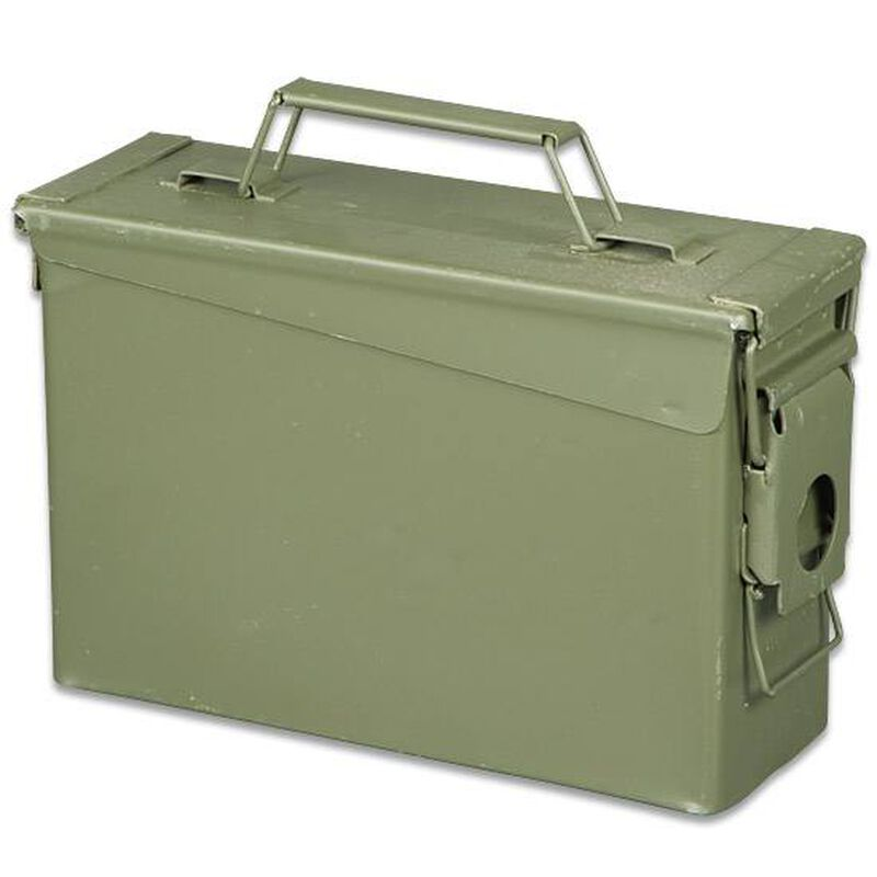 "Original Military Surplus Used .30 Caliber Ammo Can, 10""x7""x3.5"", Steel"