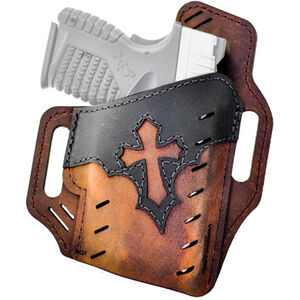 Versacarry Underground Premium Guardian Arc Angel Holster Size 3 Belt Slide Right Hand Leather Distressed Brown and Black UGA3BRN