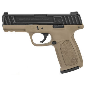 "Smith & Wesson SD9 Semi Automatic Pistol 9mm Luger 4"" Barrel 16 Rounds Fixed 3 Dot Sights Black Slide/FDE Frame Finish"