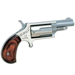 """NAA Mini Single Action Revolver Cylinder Combo .22 LR and .22 Magnum 1.63"""" Barrel Rosewood Grips Stainless Steel NAA-22MC"""