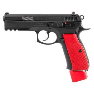 "CZ 75 SP-01 9mm Luger Semi Auto Handgun 4.6"" Barrel 22 Rounds Picatinny Accessory Rail Steel Frame Matte Black Finish Red Henning Aluminum Grip"