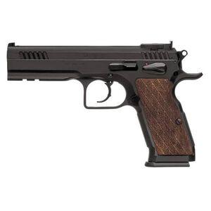 "EAA Witness Elite Stock III Semi Auto Pistol 9mm Luger 4.75"" Barrel 17 Rounds Fully Adjustable Super Sights Integral Rail Checkered Walnut Grip Blued Finish"