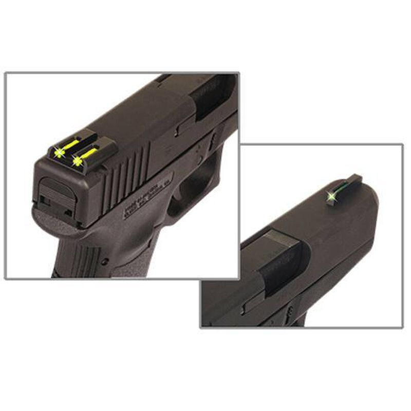 TRUGLO TFO Ruger LC9/LC380 Tritium/Fiber Green Front And Yellow Rear Sight Set CNC Machined Steel Black TG131RT2Y