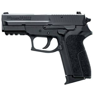 "SIG Sauer SP2022 Semi Auto Handgun 9mm Luger 3.9"" Barrel 10 Rounds Contrast Sights Polymer Frame Rail Nitron Finish SP20229BCA"