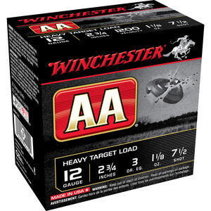 """Winchester AA Heavy Target 12 Gauge Ammunition 250 Rounds 2.75"""" #7.5 Lead 1.125 Ounce AAM127"""
