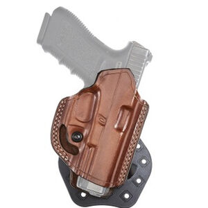 Aker Leather 268A FlatSider Paddle XR19 GLOCK 43 Paddle Holster Right Hand Plain Leather Tan