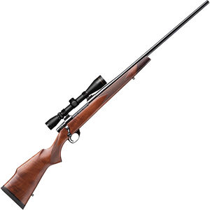 """Weatherby Vanguard Deluxe .25-06 Rem Bolt Action Rifle 24"""" Barrel 5 Rounds with 3-9x40 Leupold VX2 Scope Gloss Walnut Stock Matte Blued Finish"""