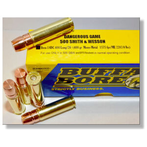 Buffalo Bore Dangerous Game.500 S&W Ammunition 20 Rounds Mono-Metal Lead Free FN 400 Grain 18DG 400 Long/20