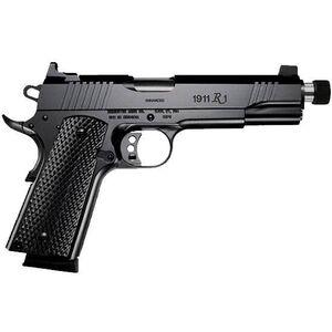 "Remington Model 1911 R1 Enhanced Semi Auto Handgun .45 ACP 5.5"" Stainless Threaded Barrel Barrel .578-28 TPI 8 Rounds Tall Sights Wood Grips Black Finish 96339"