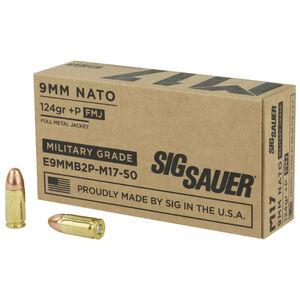 SIG Sauer M17 9mm Luger +P Ammunition 50 Rounds 124 Grain Elite Ball M17 Full Metal Jacket 1198fps