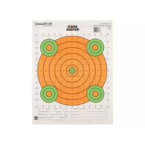 Champion 100 Yard Rifle Sight In Paper Target Fluorescent Orange Bullseye 12 Pack