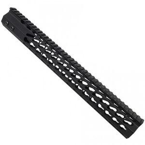 "Guntec AR-15 15"" Ultra Slimline Octagonal 5 Sided KeyMod Free Floating Handguard with Monolithic Top Rail 8.8 oz. Aluminum Black"