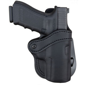 1791 Gunleather Optic Ready Open Top Multi-Fit 2.4s OWB Paddle Holster for FN 509/SIG P229/P228 Semi Auto Models Right Hand Draw Leather Stealth Black