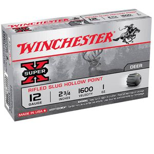 "Winchester Super X 12 Gauge 5 Round 2.75"" 1oz Rifled Slug HP X12RS15"