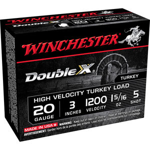 """Winchester Double X 20 Gauge Ammunition 100 Rounds 3"""" # 5 Plated Lead STH2035"""