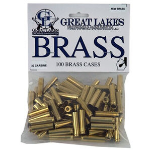 Great Lakes Bullets and Ammunition .30 Carbine New Unprimed Brass 100 Pack B687696