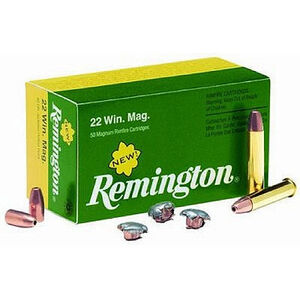 Ammo .22 Magnum Remington Jacketed Hollow Point 40 Grain 1910 fps 50 Round Box