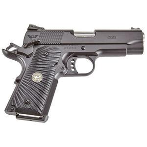 "Wilson Combat CQB Compact 1911 Semi Automatic Handgun 9mm Luger 4"" Barrel 7 Rounds Starburst G10 Grips Armor Tuff Black Finish"