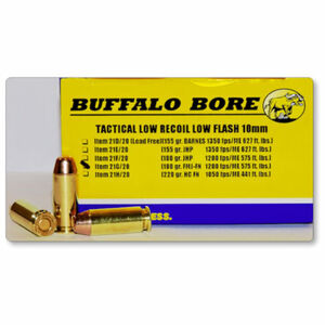Buffalo Bore Tactical 10mm Auto Ammunition 20 Rounds FMJ FN 180 Grain 21G/20