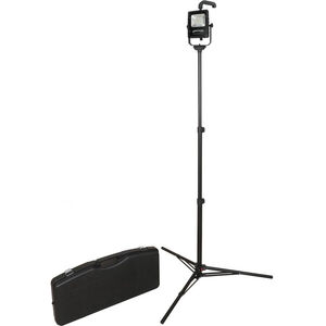 Nightstick Rechargeable Led Scene Light Kit with 6' Tripod and Travel Case Black