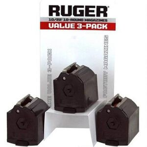 Ruger 10/22 Magazines .22 LR 10 Rounds Polymer Black Value Package of Three 90451
