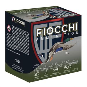 "Fiocchi Waterfowl Steel Hunting 20 Gauge Ammunition 3"" #4 Shot Size 7/8oz Steel Shot 1500fps"