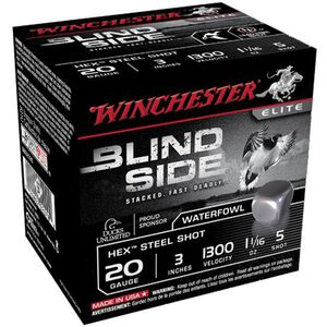 "Winchester Blind Side 20 Ga 3"" #5 Hex Steel 250 Rounds"