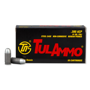 TulAmmo .380 ACP Ammunition 50 Rounds FMJ 91 Grains TA380910