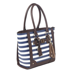 "Bulldog Cases Tote Style Purse 17"" X 12"" X 5"" Ambidextrous PU Leather Navy Stripe"