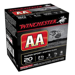 "Ammo 20 Gauge Winchester AA Super Sport Sporting Clays Load 2-3/4"" #8 Lead Shot 7/8 Ounce 1300 fps 25 Rounds AASC208"