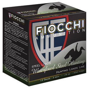 "Fiocchi Waterfowl Steel Hunting 12 Gauge Ammunition 250 Rounds 3-1/2"" #2 Shot Size 1-3/8oz Steel Shot 1470fps"