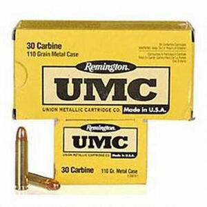 Remington .30 Carbine UMC Ammunition 50 Rounds MC 110 Grains