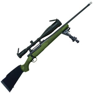 """Mossberg Patriot Night Train Bolt Action Rifle .300 Win Mag 22"""" Fluted Barrel Muzzle Brake 3 Rounds OD Green Synthetic Stock 6-24x50 Scope Matte Blued 27925"""