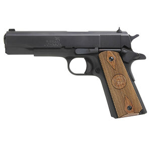 """Iver Johnson Arms 1911A1 Standard Full Size .45 ACP 5"""" Barrel 8 Rounds Fixed Sights Walnut Double Diamond Grips Matte Blued Finish"""