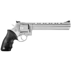"""Taurus 44 Double Action Revolver .44 Magnum 8.375"""" Ported Barrel 6 Rounds Fixed Front Sight/Adjustable Rear Sight Rubber Grip Matte Stainless Steel Finish"""
