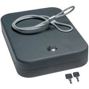 SnapSafe Lock Box with Cable 2 Keys XXL Black Steel 75220