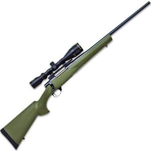 "Howa Hogue Gameking .22-250 Rem Bolt Action Rifle 22"" Barrel 5 Rounds with 3.5-10x44 Scope OD Green Stock Blued"
