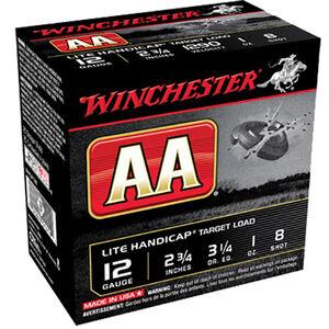 "Winchester USA AA Lite Handicap Target Load 12 Gauge Ammunition 2-3/4"" #8 Lead Shot 1 oz 1290 fps"