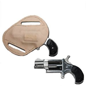 """NAA Mini Revolver Carry Combo .22 Winchester Magnum 1-5/8"""" Barrel Black Rubber Grips Holster Stainless Steel Finish"""
