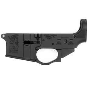 Spikes Tactical AR-15 Forged Stripped Lower Receiver Multi Caliber Snowflake Logo Non-Color Filled Aluminum Black